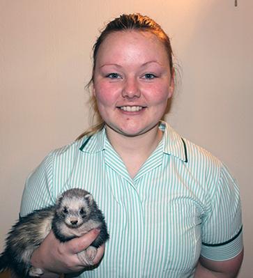 Linn Johansen holding Ripley the ferret