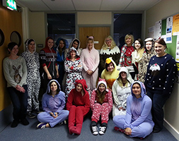 Students in their onesies