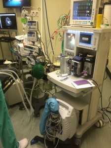 The anaesthetic machines and monitoring equipment in the QMH.